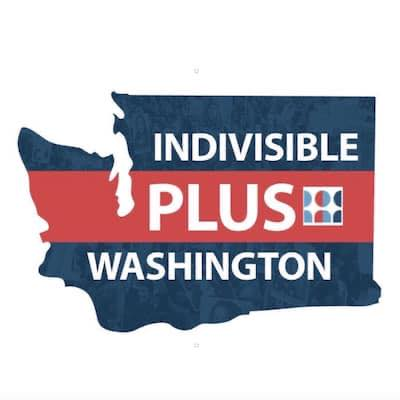 The Indivisible Plus logo: a map of Washington state, with the words Indivsiible Plus Washington and the Indivisible logo, all in red white and blue